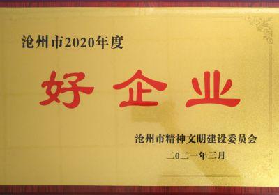 """我公司获评沧州市2020年度""""好企业""""荣誉称号"""